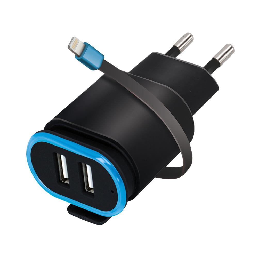 Cestovní dobíječ Forever 2x USB 2.4A TC-02 s lightning kabelem černý
