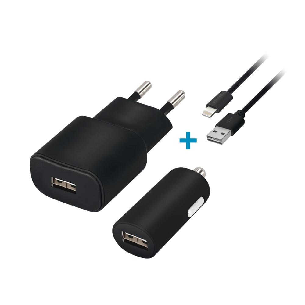 Cestovní dobíječ a autodobíječ Forever USB 2A s lightning kabelem