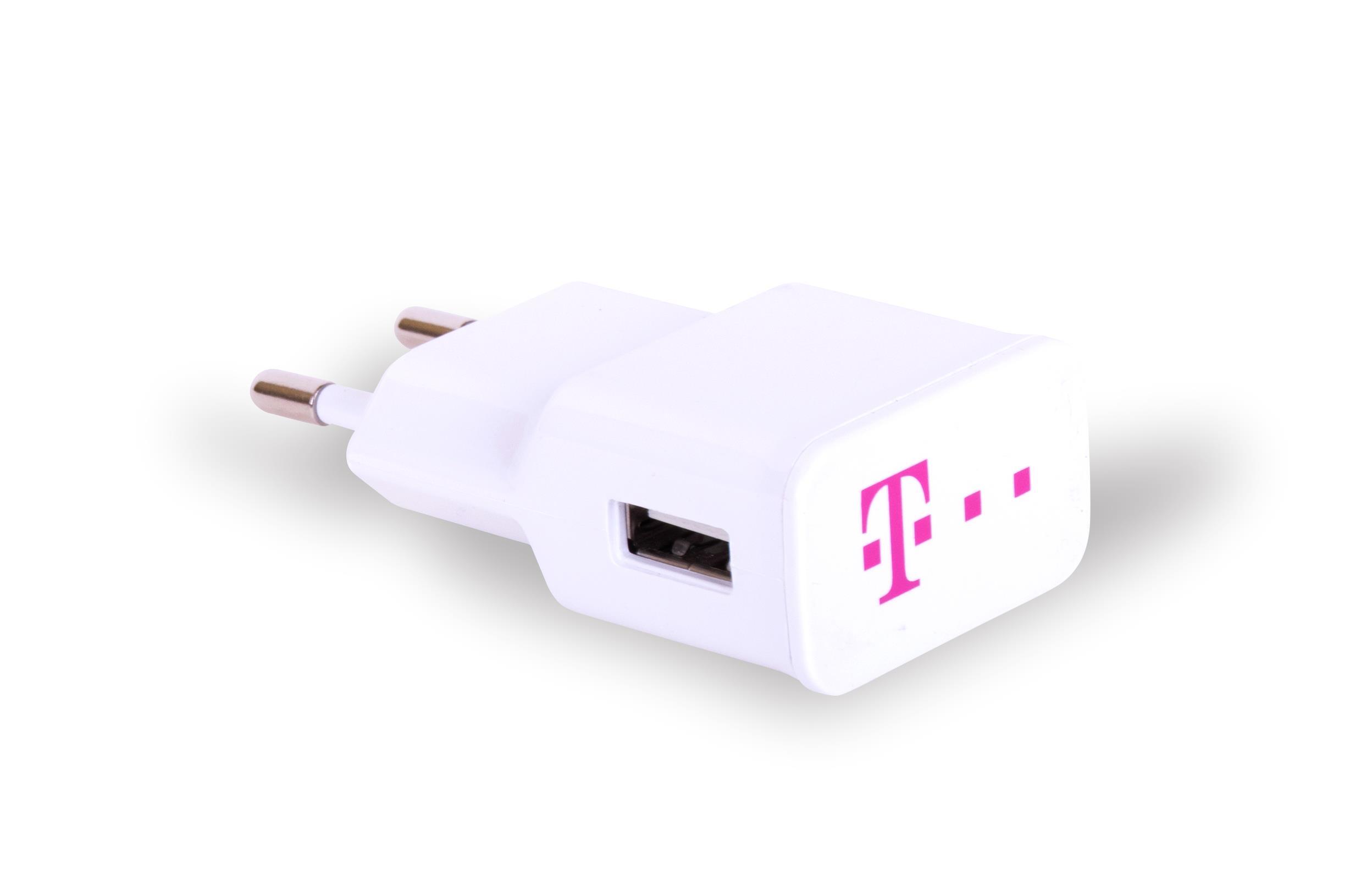 PREMIUM CESTOVNÍ DOBÍJEČ S VÝSTUPEM USB (1000mA) SLIM - BÍLÉ + LOGO TM
