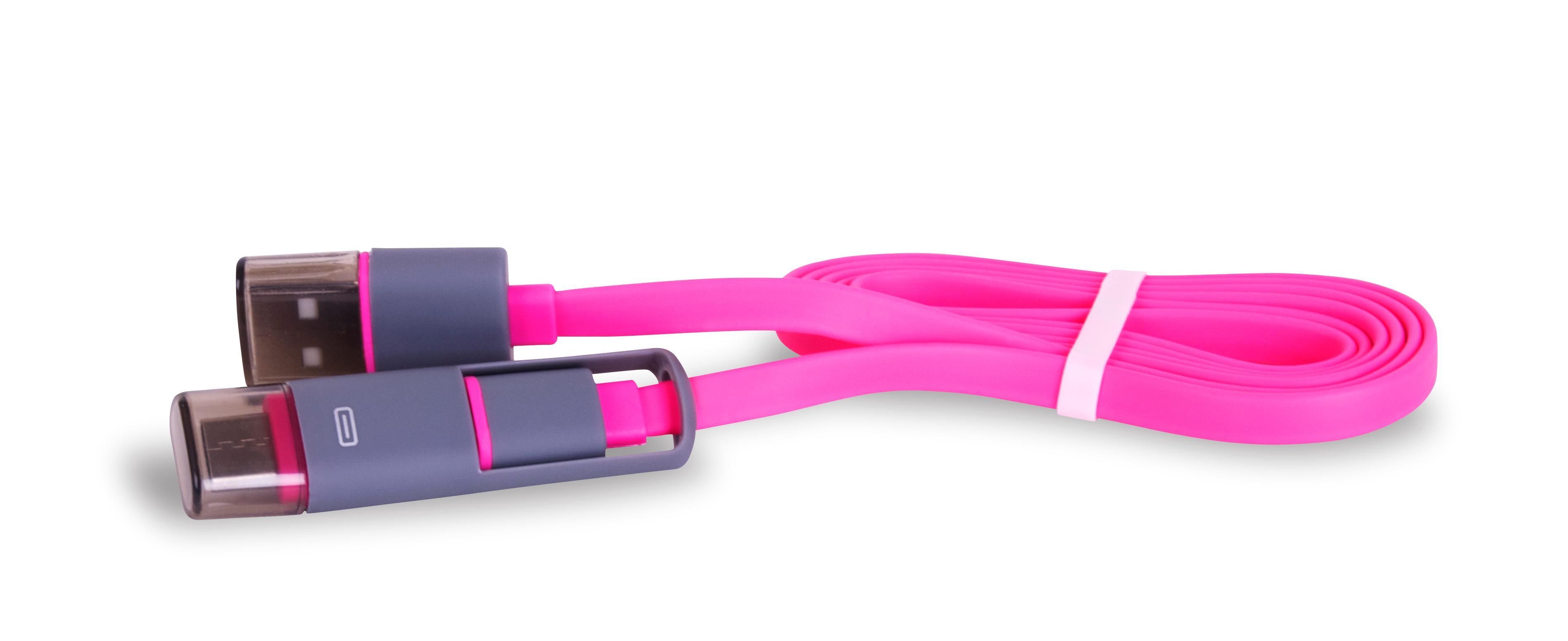 DATOVÝ KABEL USB 3.1 C-TYPE / microUSB 1M COMFORT PLOCHÝ - RŮŽOVÝ