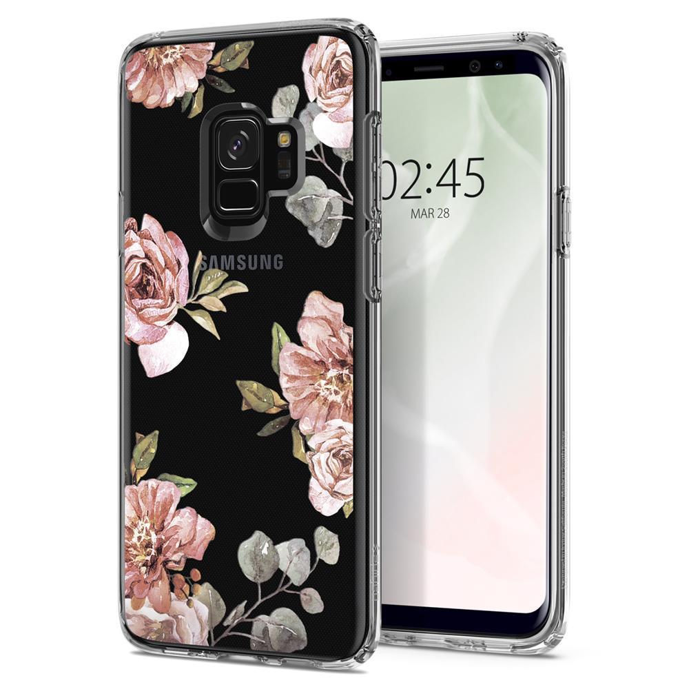 Ochranný kryt Spigen Liquid Crystal Blossom pro Samsung Galaxy S9 květina