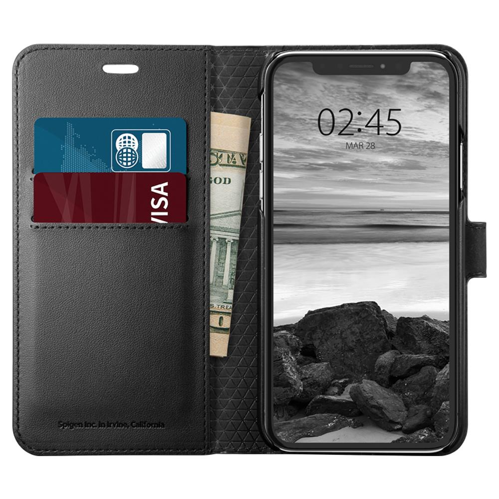 Ochranné pouzdro s funkcí stojánku Spigen Wallet S pro Apple iPhone XS/X černé