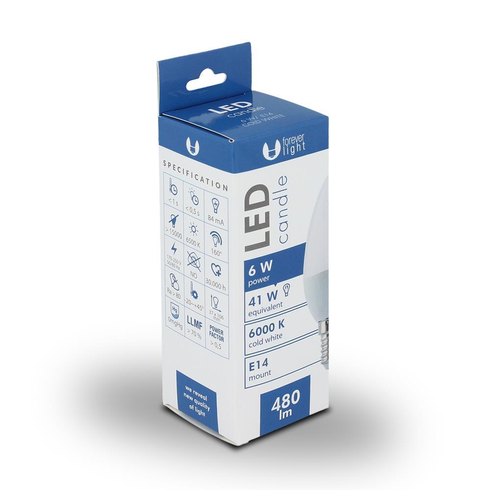 LED žárovka Forever C37 E14 6W studená bílá (6000K)