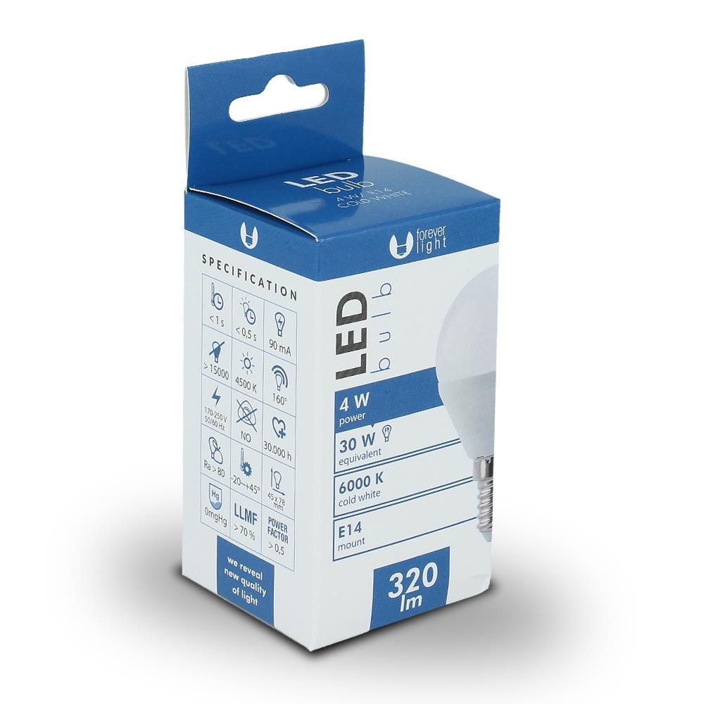 LED žárovka Forever G45 E14 4W studená bílá (6000K)