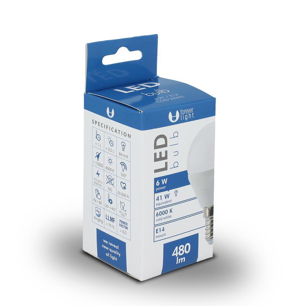 LED žárovka Forever G45 E14 6W studená bílá (6000K)