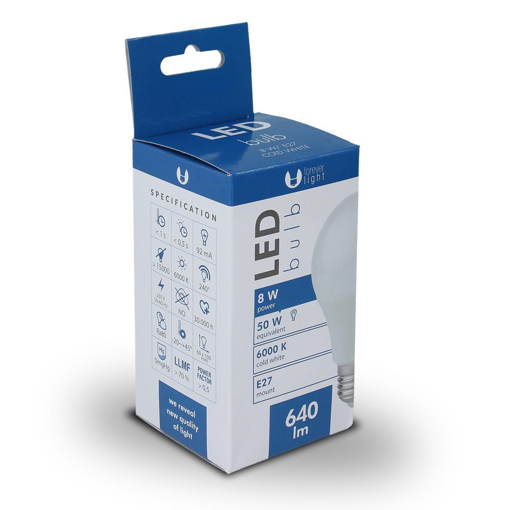 LED žárovka Forever A60 E27 8W studená bílá (6000K)