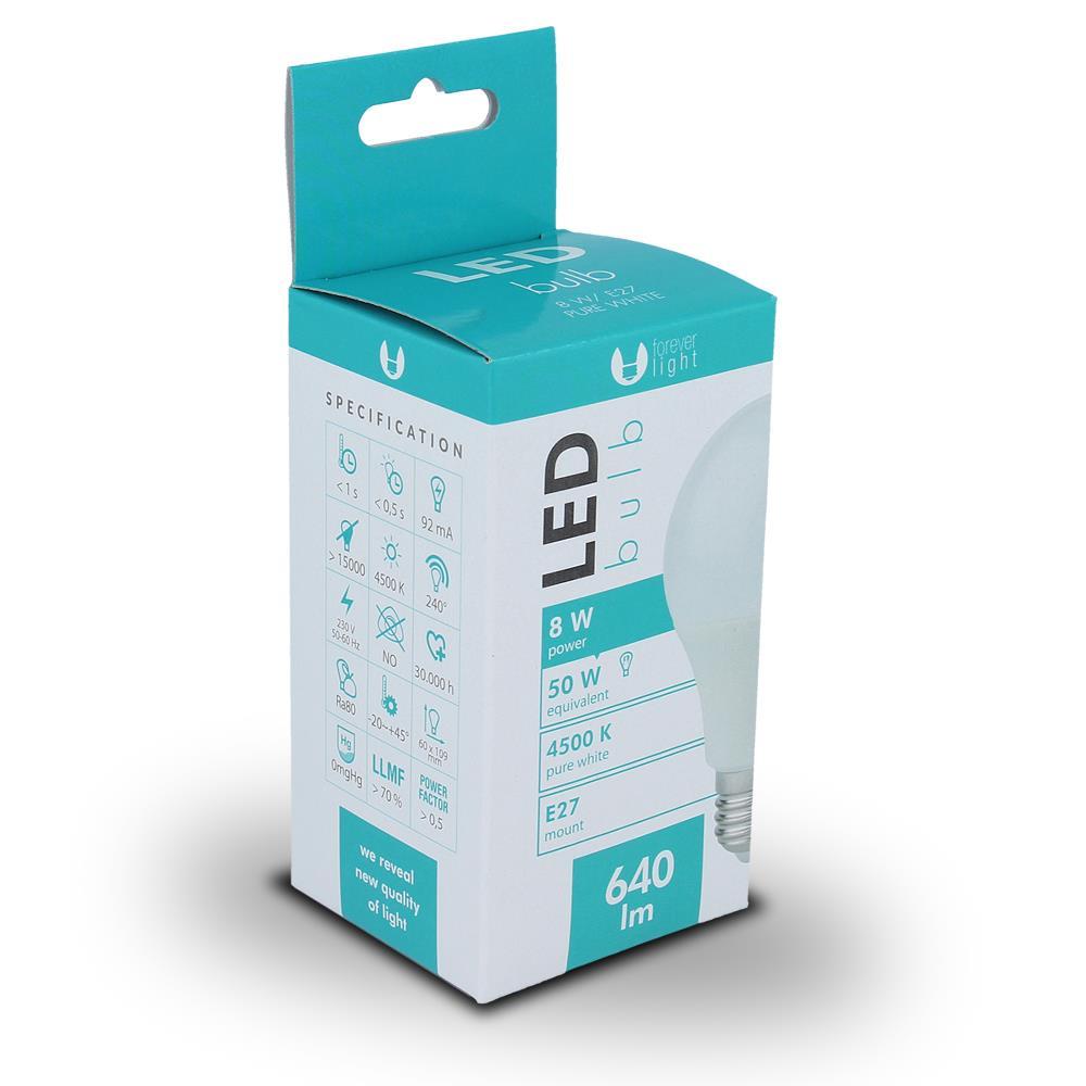 LED žárovka Forever A60 E27 8W bílá (4500K)