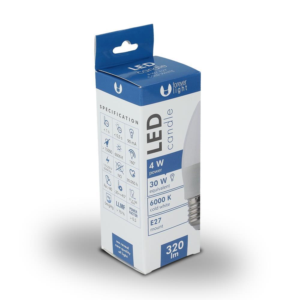 LED žárovka Forever C37 E27 4W studená bílá (6000K)