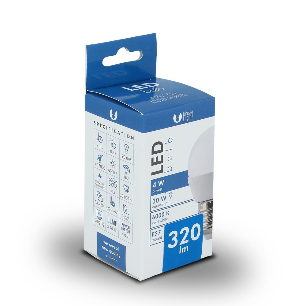 LED žárovka Forever G45 E27 4W studená bílá (6000K)