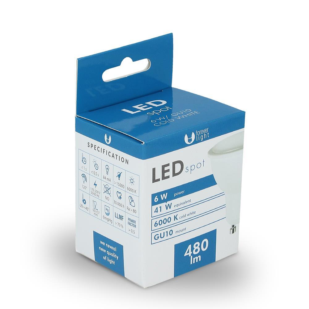 LED žárovka Forever GU10 6W studená bílá