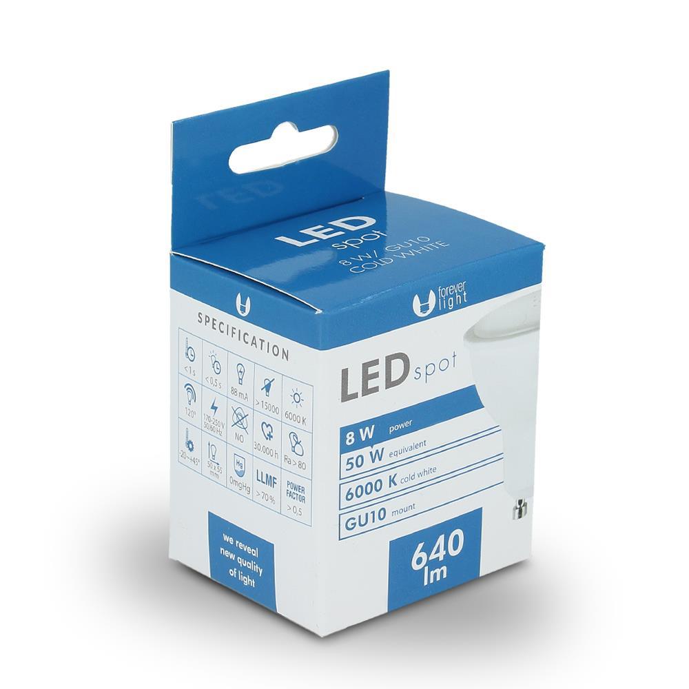 LED žárovka Forever GU10 8W studená bílá