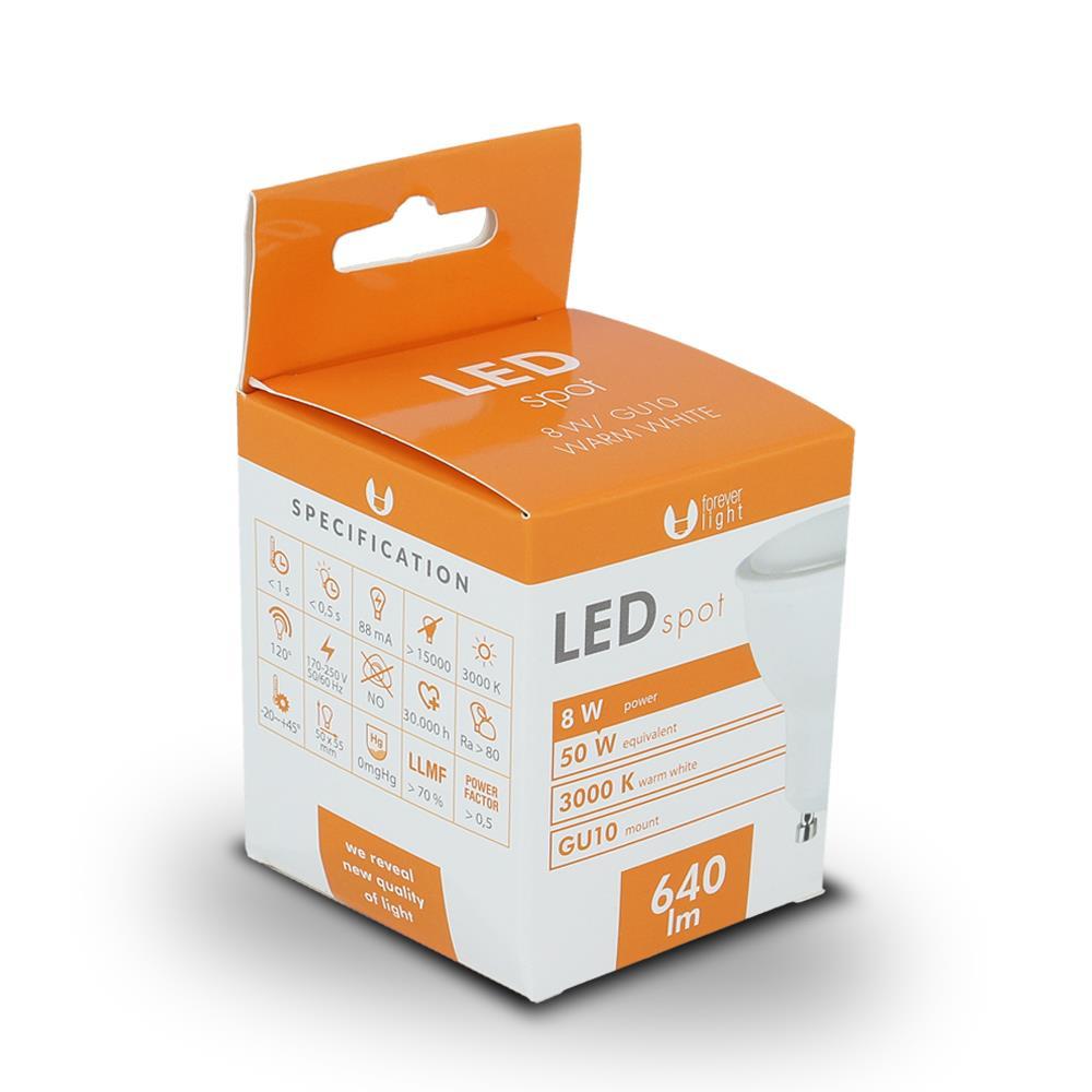 LED žárovka Forever GU10 8W teplá bílá
