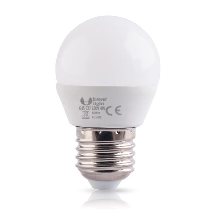 LED ŽÁROVKA E27 - 4W, G45, 15 LED - ECO (230V) TEPLÁ BÍLÁ