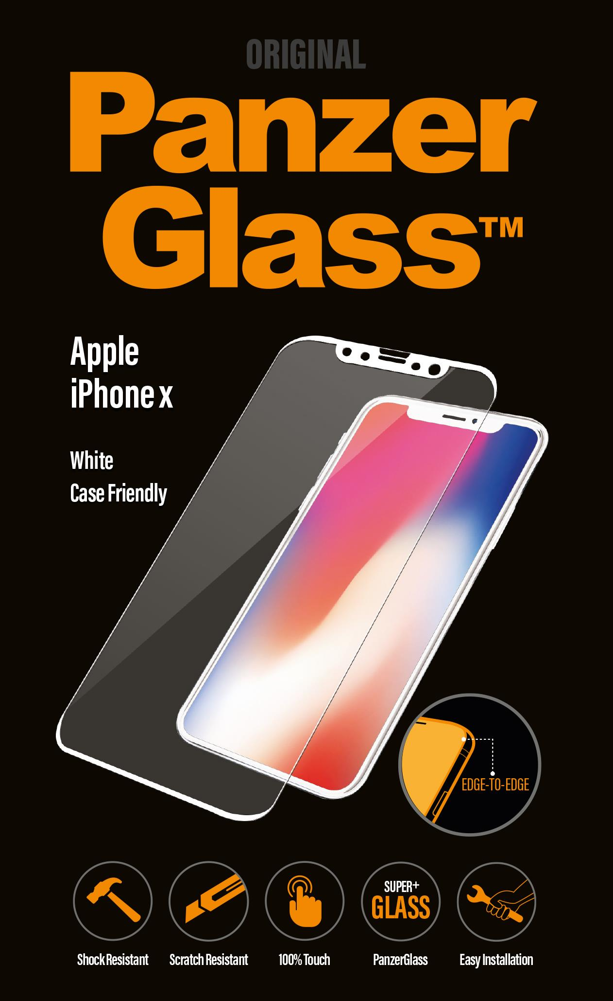 OCHR. FOLIE DISPLEJE PanzerGlass Full Frame APPLE IPHONE X - BÍLÝ