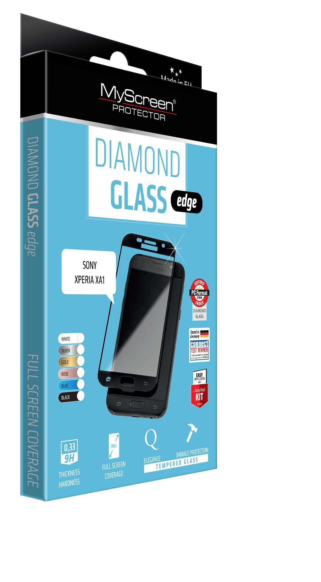 OCHR. SKLO DISPLEJE FullCover (Diamond Glass Edge) GLASS SONY XPERIA XA1- ČERNÁ