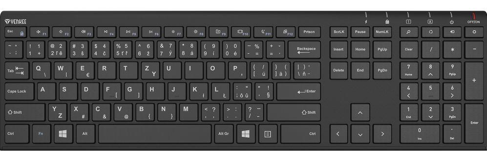 Bezdrátová klávesnice Yenkee Trim černá