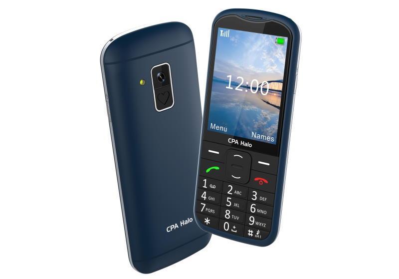 Telefon CPA Halo 18 Senior modrý s nabíjecím stojánkem