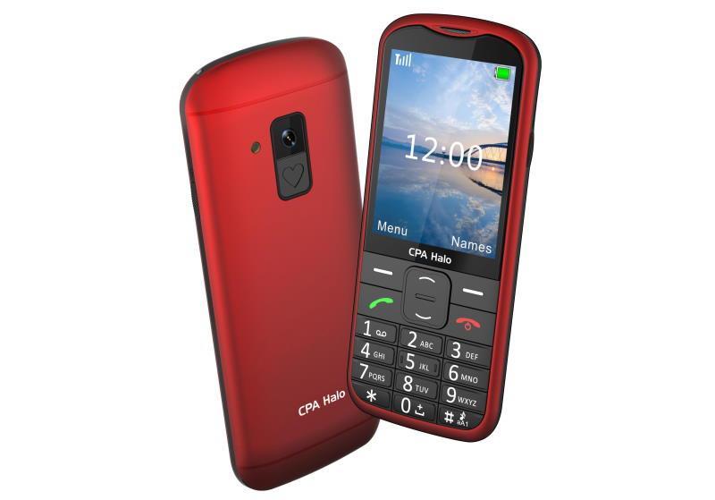 Telefon CPA Halo 18 Senior červený s nabíjecím stojánkem