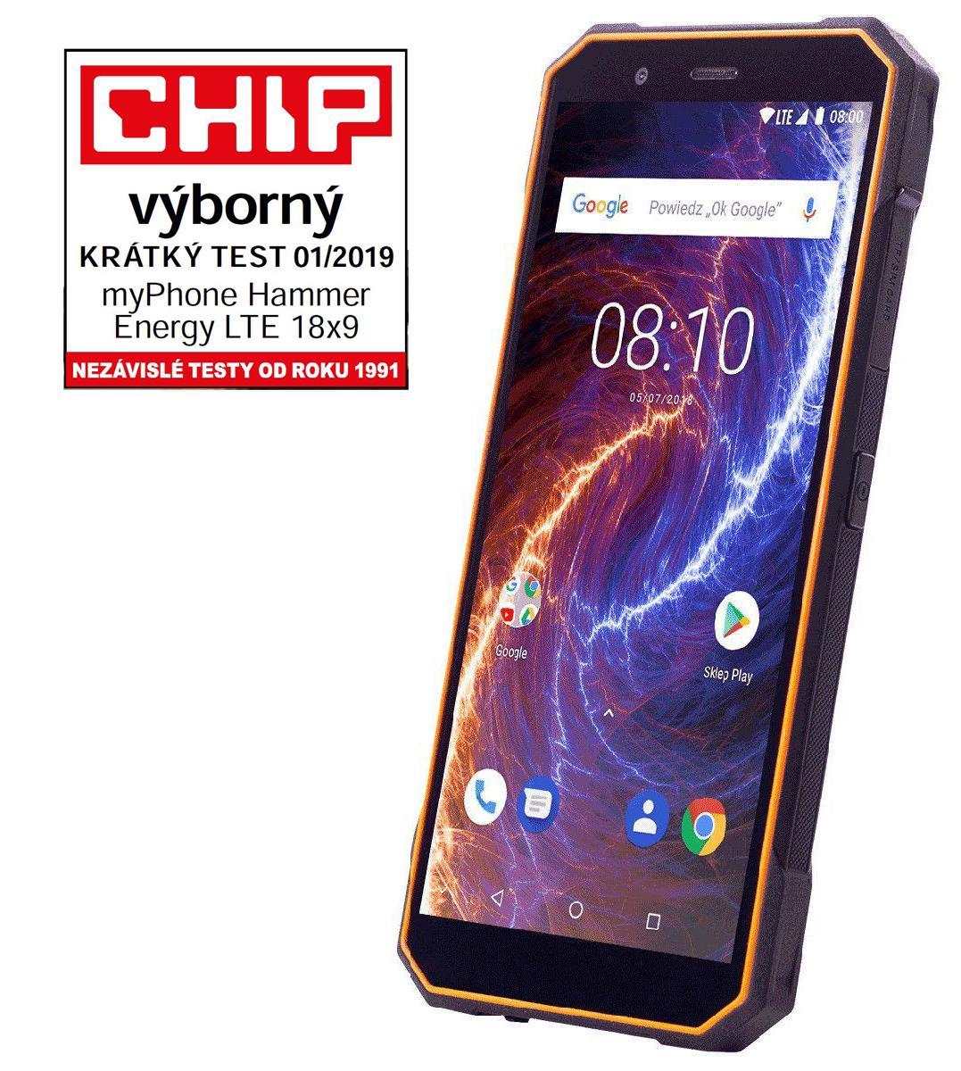 TELEFON DUAL SIM myPhone HAMMER ENERGY LTE 18x9 ORANŽOVO-ČERNÝ