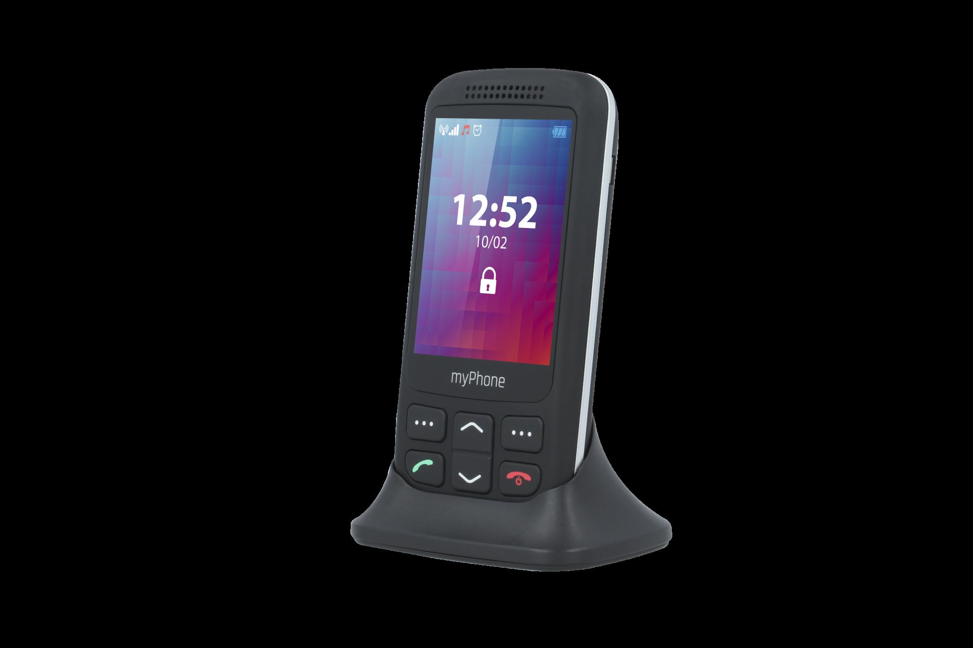 Telefon myPhone Halo S Senior černý s nabíjecím stojánkem